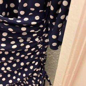 Jones Wear Dresses - Navy polka dot polyester dress